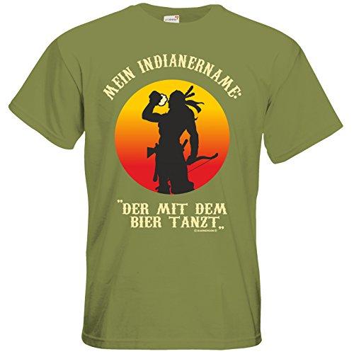 getshirts - Rahmenlos® Geschenke - T-Shirt - Bier - Indianer - Green Moss L