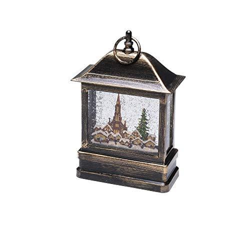 """Konstsmide, 4350-000, LED """"Schneelaterne mit Kirche und Weihnachtsmarkt"""", wassergefüllt, wählbare Energieversorgung, mit 5h Timer, warm weiße Diode, 4.5V_Innentrafo/batteriebetrieben, Innen"""