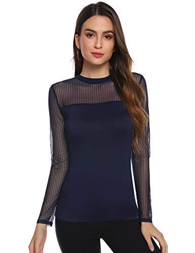 Abollria Damen Elegant Langarmshirt Weiche Leichte Bluse Mesh Transparentes Shirt Rundhals Sexy Stretch Top,Navyblau,XL