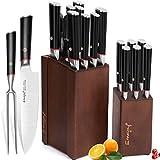 Emojoy Messerblock Set, 17-TLG Messerset, 16 Küchengerät Plus 1 Geschenk Fleischgabel, 2 Block Küchenmesser mit Steakmesser, extrem scharf Kochmesser, Doppelstahl