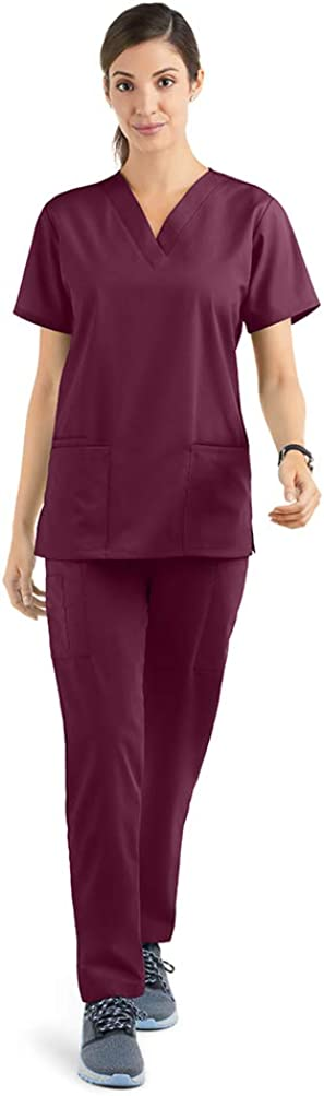 Strictly Scrubs Women's Scrub Set (XS-3X, 14 Colors) – Includes V-Neck Top and Elastic Pant