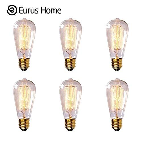 Eurus Home ST58 60W Vintage Antique Edison Style Incandescent Clear Glass Light Lamp Bulb (6 Pack)
