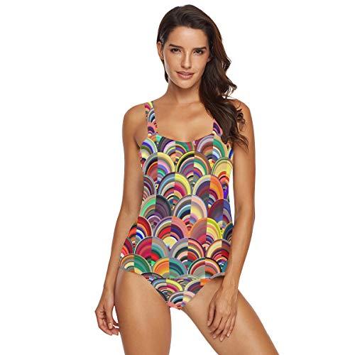 Traje de baño de dos piezas para mujer con patrones de mármol multicolor Tankinis, traje de baño de playa