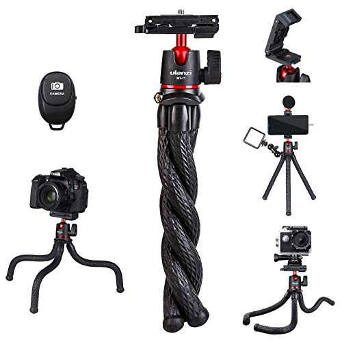 ULANZI Camera Tripod w Remote,3 in 1 Mini Flexible Tripod Stand with Hidden Phone Holder,Cold Shoe Mount,GoPro Adapter,1/4'' Screw for Magic Arm,Compatible with iPhone 12 Mini Pro Max All Cameras