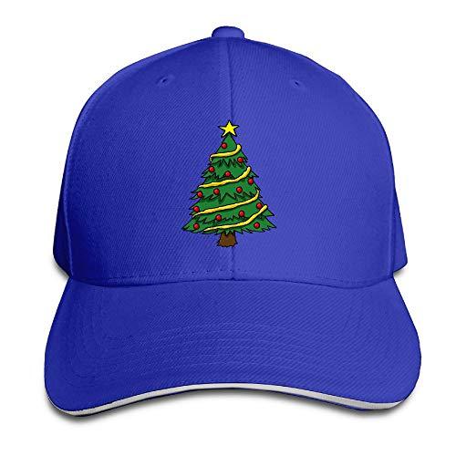 Jssmao Baseballkappe mit Weihnachtsbaum-Motiv, verstellbar, Hip-Hop-Cap, Schwarz