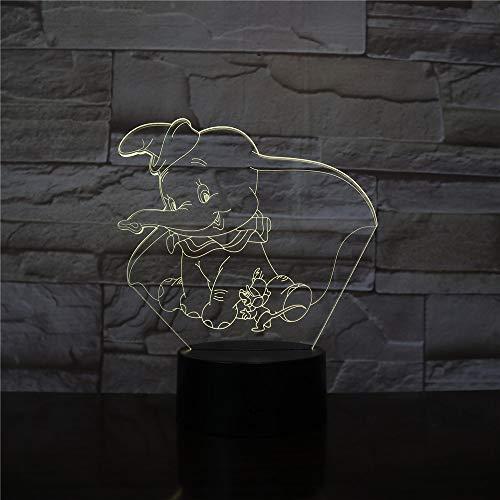 Elephant Night Light Dumbo Cute Baby Night Light Color Cambio de decoración de Interiores Kid Girl Boy Child Entrega de Regalos