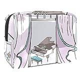 Bolsa de maquillaje para mujer, bolsa de viaje de almacenamiento para mujer impermeable Esquema Conjunto Instrumentos Musicales Piano Harp Para viajes, Organizadora de cosméticos