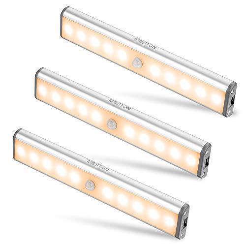 Bewegingssensor Kastverlichting, MOSTON 10 LED draadloze onderkastverlichting met ingebouwde oplaadbare batterij, overal op te hangen magnetische nachtlamp voor kastkast Keukenkast, warm wit
