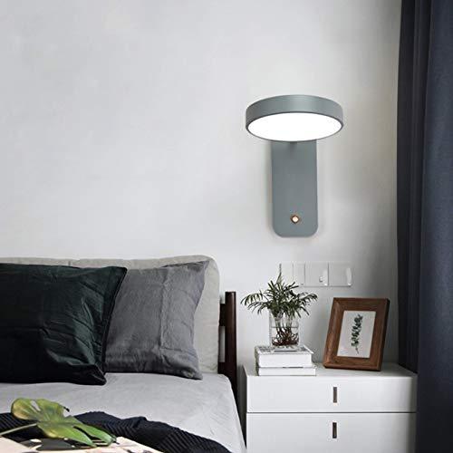 QEGY Aplique de Pared Habitación de Niños con Interruptor de Pulsador, LED Luz de Lectura Nórdica Minimalista Moderno Cuidado de Ojos, 2700-6500K Lámpara de Salón Giratorio para Sala de Estar,Gris