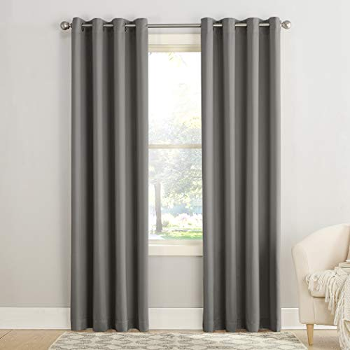 "Sun Zero Barrow Energy Efficient Grommet Curtain Panel, 54"" x 108"", Steel Gray"