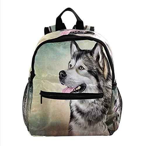 XiangHeFu Mochila escolar para niñas niño caminata al aire libre bolsa de viaje mochila retrato de perro alaska Mochila estampada