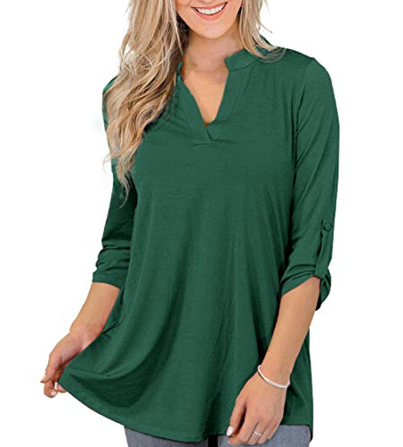 Othyroce Womens Summer Tops 2X Plus Size Tops for Women V Neck Tunics 3/4 Sleeve Shirts for Women, Dark Green Tops