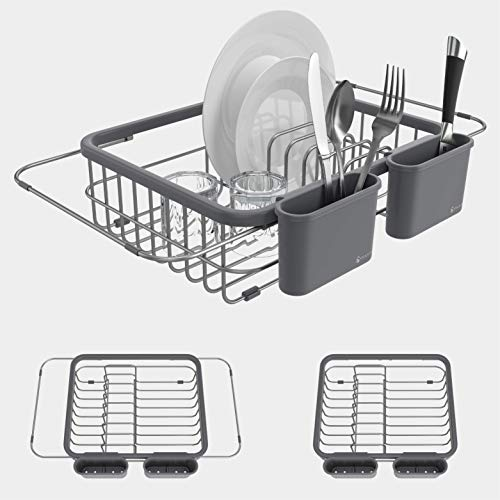 Shanik Expandable Draining Dish Rack - Over-Sink Dish Drainer, Sponge...