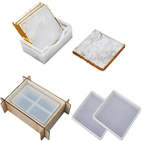 ORNOOU 4 Pieces Square Coaster Storage Box Resin Mold Silicone Epoxy Casting Mould DIY Resin product image
