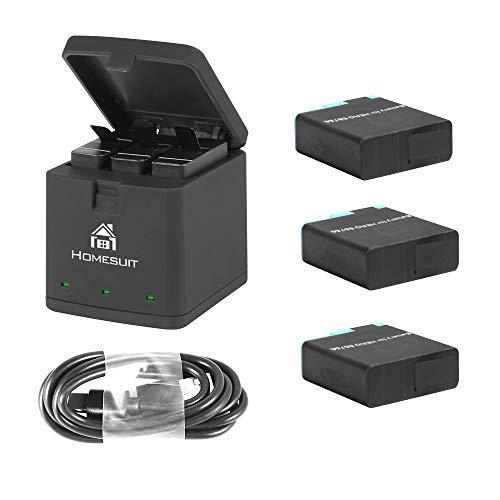 Homesuit Akku (3 Pack) und 3-Kanal USB Speicherladegerät für GoPro Hero 8 Black, Hero 7 Black, Hero 6 Black