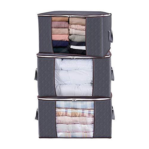 Zueyen - Set di 3 sacchetti per vestiti, capienti, con manici portatili, ideali per vestiti, coperte, armadi, camere da letto (60 x 35 x 40 cm)