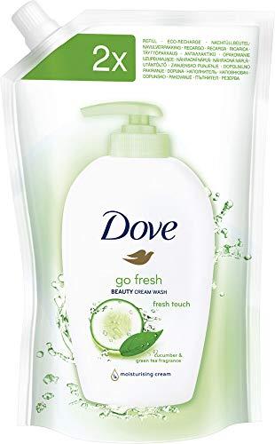 Dove Pflegende Hand-Waschlotion Gurke und Grüner Tee mit 1/4 Feuchtigkeitscreme, 500 ml Nachfüllpack, (1 x 500 ml)