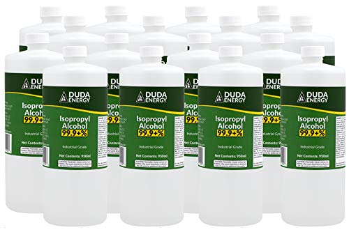 Duda Energy Bottles of 99.9+% Pure Isopropyl Alcohol Industrial Grade IPA Concentrated Rubbing Alcohol 4 Gallons Total, Clear 32.12 Fl Oz (Pack of 16)