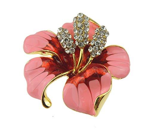 Elegante broche de 5 cm con diseño de orquídea y lirio, color rosa pálido