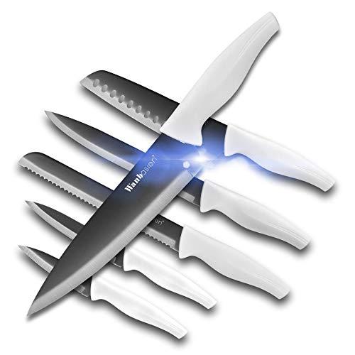 Wanbasion 6 Teilig scharfe Messer Set küche Edelstahl, küchen Messer Set schwarz hochwertig, Profi Messer Set für köche kochmesser rostfrei