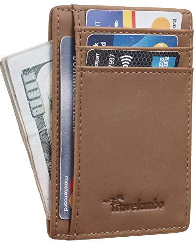 Travelambo Vordertasche, minimalistisches Leder, schmal, RFID-blockierend, mittlere Größe (06 CH Khaki)
