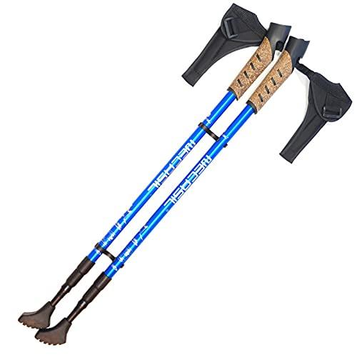 WBYY Bastones Trekking, 2 Bastones Senderismo Extensibles para Caminar, Bastones telescópicos Ajustables de Aluminio Ligeros y duraderos,Azul