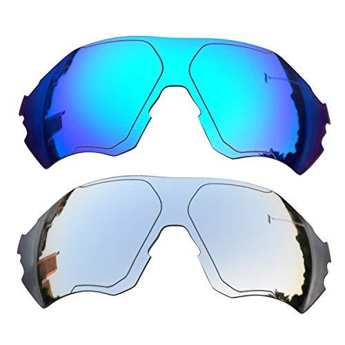 SOODASE Para Oakley EVZero Range Gafas de sol Azul/Plata 2 Pares Lentes de repuesto polarizadas