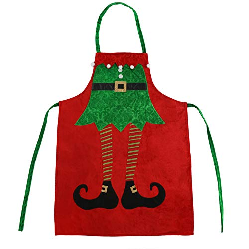 Athoinsu Christmas Apron Elf Leg Kitchen Chef Aprons Xmas Holiday Costume Party Supplies Gifts for Men Women Good for Cooking Gardening Baking, Red, 23''40''