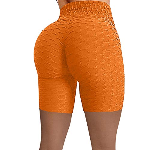 bayrick Leggings Push Up Mujer Mallas,Peluchero de durazno Jacquard Burbujas de Yoga Pantalones Deportes Stands Shorts-Naranja_L