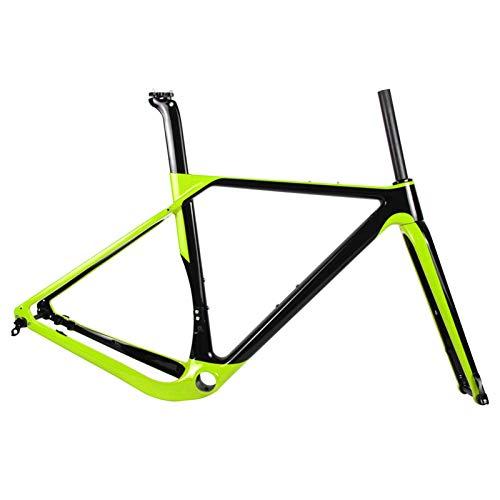PPLAS Marco de Grava de Carbono a través del Eje de Freno de Freno de Freno de Freno de ciclocross Marco de Bicicleta Compatible con 700c y 27.5er Ruedas (Color : Light Yellow, Size : 54cm)