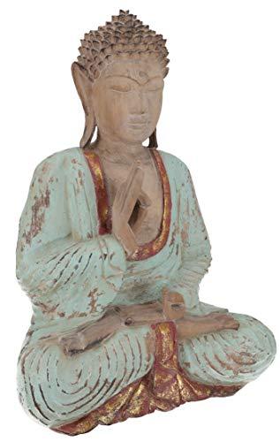 Guru-Shop Großer Holzbuddha, Buddha Statue, Handarbeit 43 cm, Antik Grün - Modell 12, Buddhas