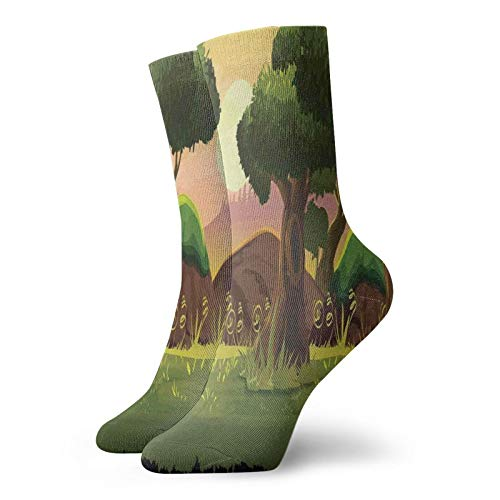 Fuliya Neutral fun novelty short socks,Animation Game Scenery Inspired Graphic Woodland And Trees With Sunset Background,Fashion breathable socks for Men and Women