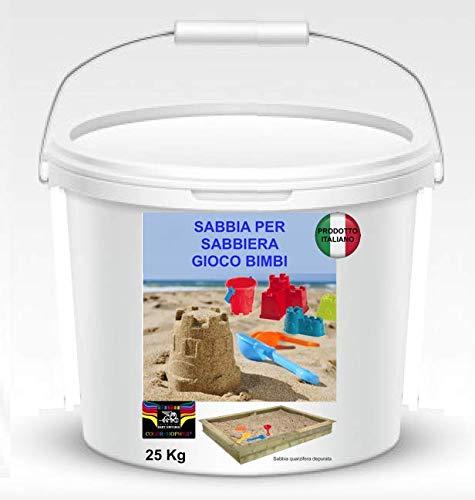 Sabbia per Bambini 25 kg. In pratico secchio Colore Bianco Caraibico Ideale Anche per ACQUARI E Animali
