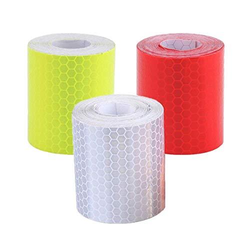 Reflektorband,3er Pack Selbstklebend Warnklebeband Warnband Nacht Reflektor Streifen für Autos Fahrräder Helme Kleidung Weiß Rot Grün 5CM*3M