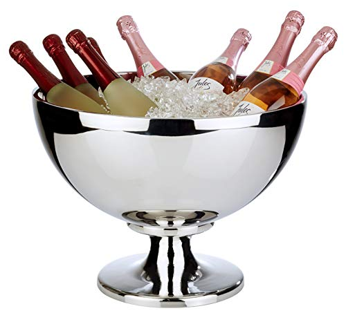 Buddy'sBar-Cubo de champán Impressive Grande,Enfriador de Acero Inoxidable, Pulido Brillante y de Doble Pared, Muy Resistente con una Capacidad de 10,5 L, Apto para lavavajillas