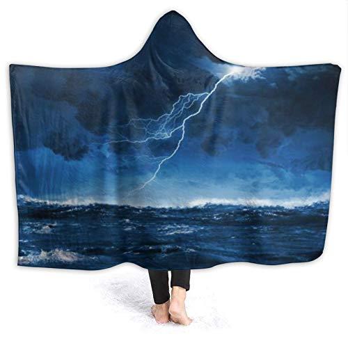 YOUMEISU Coperta con Cappuccio,Drammatico fulmini Blu Notte Mare tempestoso Grandi Onde Luminose Natura Tuono Oceano Tempesta temporale,Coperta in Pile Coperta per TV 130x150cm