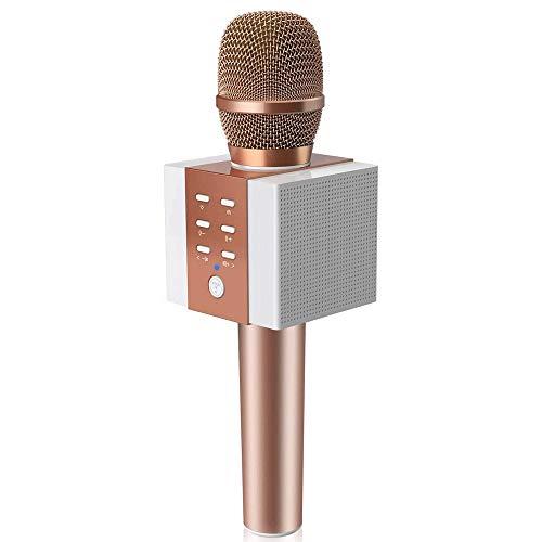 Drahtlose Bluetooth-Karaoke-Mikrofon, 10W mehr Volumen, mehr Bass, 3-in-1 tragbaren Handheld Dual-Lautsprecher-Mikrofon GAONAN