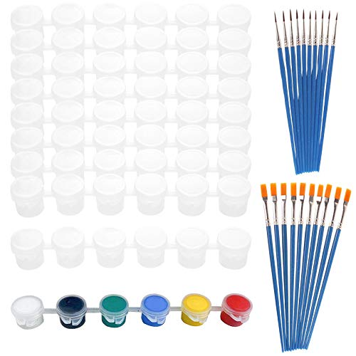 Empty Paint Pots, 25 Strips 150 Pots Clear Paint Containers with Lids and 20Pcs Painting Brushes for Kids School Classroom Art Craft Supplies (5ml)