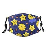 Universal lavable paño divertido bosquejo sonriente estrella y luna dormida deportes al aire libre manga boca con 2 piezas 5 capas reemplazable Pm2.5 filtro de carbón activado