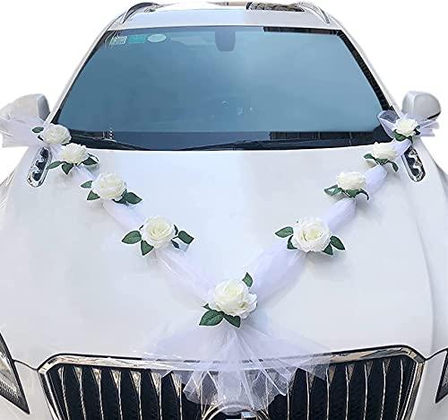 YXCUIDP Simulation Rose Blanche Simulation décoration Fleur de mariée décoration de Voiture de Mariage Fournitures de Mariage décoration Banquet de Mariage (Color : X 1 Set)