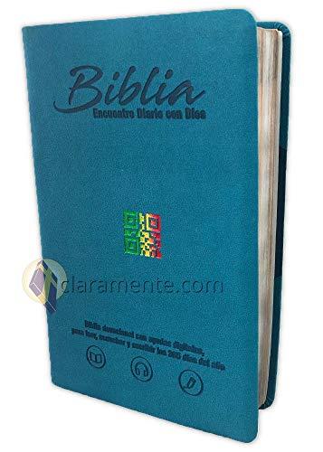 Diario Bíblico Impreso y Digital, Encuentro con Dios con QR, Reina-Valera Contemporánea, imitacion piel verde aqua
