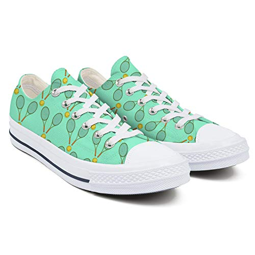 Womens Latest Canvas Low Top Sneaker Tennis Ball and Racket Girl Fashion Lace Up Canvas Shoes