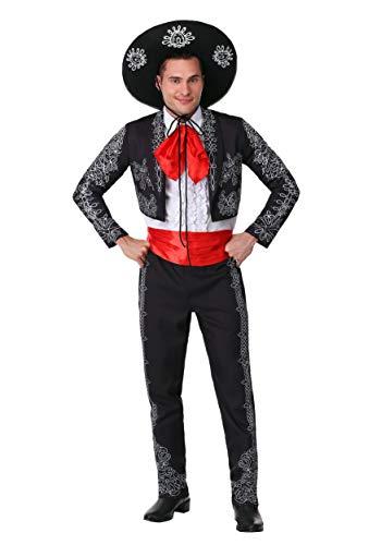 Disfraz de tres Amigos para hombre, de mariachi negro, con sombrero mexicano, talla XS