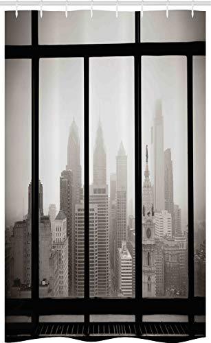 ABAKUHAUS stad Douchegordijn, Philadelphia Dak van de Stad, voor Douchecabine Stoffen Badkamer Decoratie Set met Ophangringen, 120 x 180 cm, Dimgray en Black