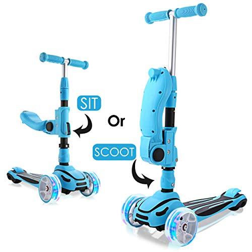 WeSkate Roller für Kinder mit faltbarem Sitz, höhenverstellbar, für Jungen und Mädchen, mit 3 LED-Rädern, extra breit, zusammenklappbar, leicht für Kinder