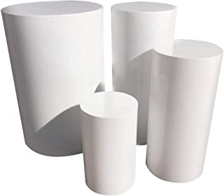 LUGUNU Acrylic Round Cylinder Pedestal Display Art Decor Plinths Pillars for DIY Wedding Decorations, Holiday Party, 1 Pillar (White, Diameter30×Hight70CM)