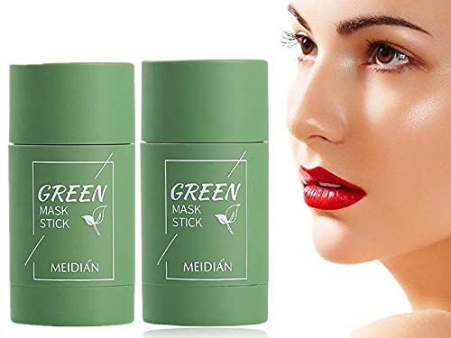 EFEG Green Tea/Eggplant Purifying Clay Stick, Plant Facial Mask Stick, Natural Green Tea Mask, Deep Clean Pore/Blackhead Remover/Moisturizes Oil Control/Repair After Sunburn (2 Green)
