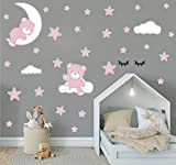 Wandaufkleber Teddybär Mond & Sterne Wandbilder Wandtattoo Kinderzimmer Tiere Deko Babyzimmer Junge Kinder Wanddekoration Schlafzimmer (Rosa)