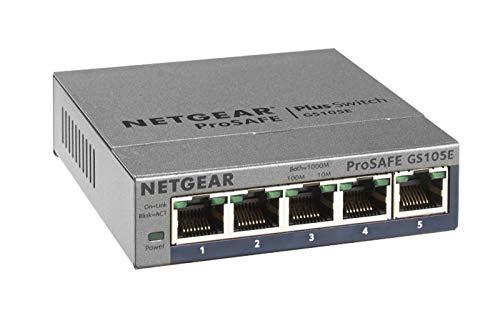 NETGEAR GS105E Switch 5 Port Gigabit Ethernet LAN Switch Plus (Managed Netzwerk Switch mit IGMP, QoS, VLAN, lüfterloses Metallgehäuse, ProSAFE Lifetime-Garantie)