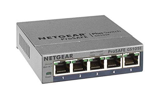 Netgear GS105E 5-Port Gigabit Ethernet LAN Switch Smart Managed Plus (für Desktop mit ProSAFE Lifetime-Garantie) grau